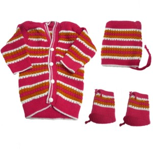 Dcs Dark Pink New Born Baby Sweaters Cap And Socks Woolen Knitted 0