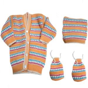 b2dabd58f DCS Light Orange New Born Baby Sweaters Cap and Socks Woolen Set 0 6 ...