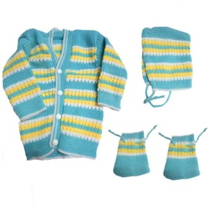 Dcs Sky Blue New Born Baby Sweaters Cap And Socks Woolen Set 0 6