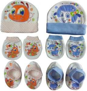 6078038b2 Sonpra New Born Baby Cotton Caps Booties Mittens Combo Set 0 3 Month ...