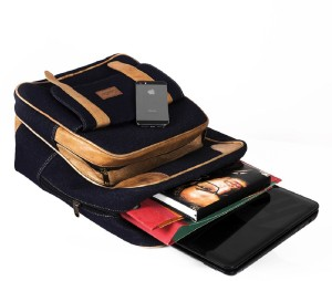 408a9bc97e Goatter Goatter Genuine Leather And Denim Material 20 L Laptop BackpackBlue