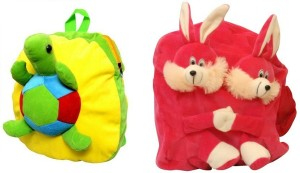 Pandora Kids School Bag - 2 Pack of Pink Double Face Rabit and Tortoise 5 L Backpack