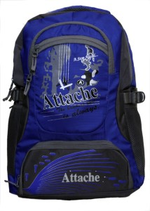 Attache Rocking School Bag (Royal Blue & Grey) 30 L Backpack