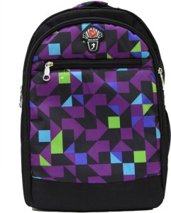 Ruff Black with Purple Printed 25 L Trolley Backpack