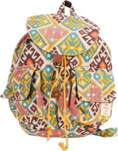 The House of Tara Canvas Ikkat Print Bag 16 L Medium Backpack