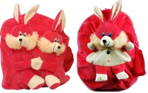 Pandora Kids School Bag - 2 Pack of Pink Single and Double Face Rabit 5 L Backpack