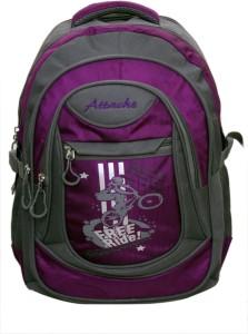 Attache Stylish School Bag (Purple & Grey) 30 L Backpack