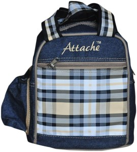 Attache Padded 1 Container Box ( Blue With Brown) Waterproof School Bag