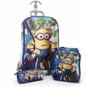 Bubble Hut Children 3D Minion 3Pcs School Bag | Waterproof Trolley