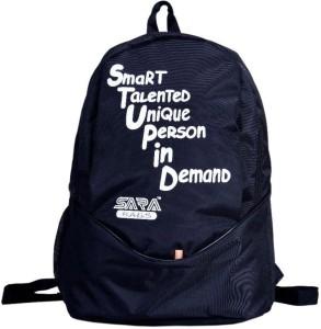 Sara black polyester school bag 25 L Backpack