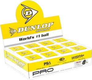 Dunlop Pro Squash Ball Double Dot Yellow Pack of 3