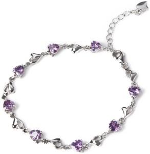9151d2214c6c Nevi Silver Swarovski Crystal Rhodium Charm Bracelet