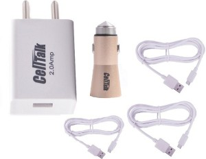 CELLTALK CAR CHARGER + 3 Cables (Micro + Type C + iPhone 6) with 2 AmpFast Mobile Charger