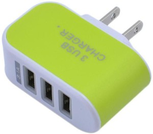 Ae Mobile Accessorize 3 USB port Wall Adapter GREEN Mobile Charger
