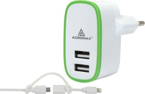 Acromax 2A / Fast charging with 2in1 Cable, Dual USB Mobile Charger