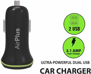 Airplus Universal Car Charger Adapter Dual USB 2.1A+1.0 Amp (Total 3.1A) Mobile Charger