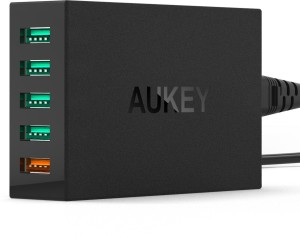 Aukey PA-T1 54W 5 Port USB Desktop Wall Charger QC 2.0 Mobile Charger