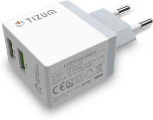 TIZUM 3.4A Dual USB Quick Smart Travel Wall Charger, Home Adapter With Auto Detect Technology For iPhones, iPads, Smartphones, Tabs Mobile Charger