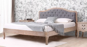 Urban Ladder Lyon Upholstered Solid Wood King Bed