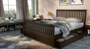Urban Ladder Athens Solid Wood Queen Bed With Storage