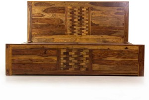 Evok Imporio Solid Wood Queen Bed With Storage