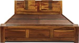 Evok Nakshatra Solid Wood King Bed With Storage