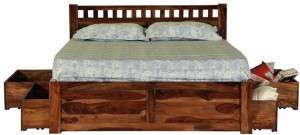 Induscraft Solid Wood Queen Bed With Storage