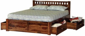 Induscraft Ethina Modern Solid Wood King Bed With Storage