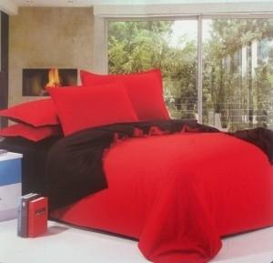Dexim Double Florescent Color Polyester Satin Bedding Set Red Black