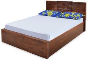 @home by Nilkamal Monalisa Solid Wood Queen Bed With Storage