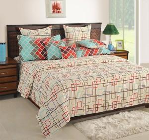 Merveilleux Swayam Cotton Geometric King Sized Double Bedsheet