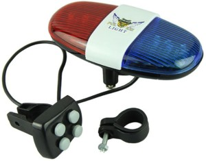 Shrih Bike Bicycle 4-Tone Whistle Red Blue Police Light Lamp Electric Horn Bell