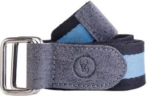 Hidegear Men Black, Blue Genuine Leather, Canvas Belt