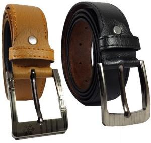 SHAKS TRADERS Men Black, Tan Genuine Leather Belt