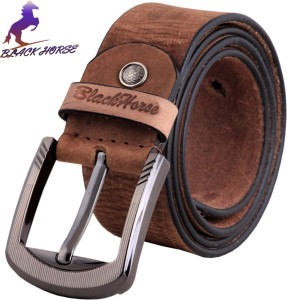 Black Horse Men Casual, Evening, Formal, Party Brown Genuine Leather Belt