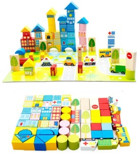 Emob 62 Pcs Colorful Wooden City Blocks Puzzle Learning Game For toddler