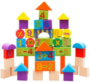 Emob 42 Pcs Wooden Digital Blocks with Attractive Colour Puzzle Learning Game For Kids