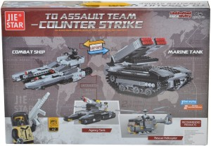 Planet of Toys 549 Pieces Block Set - 2 Variants - Marine Tank and Combat Ship