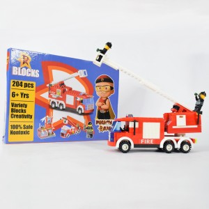 Green Gold Mighty Raju R Blocks Fire Truck Red - 204 Pieces
