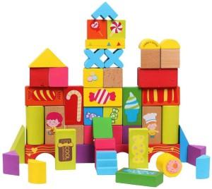 Emob 52 Pcs Bright Colourful Wooden Happy Farm Building Blocks Skillset Development for Kids