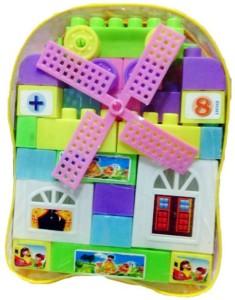 Wish Kart Kids Plastic Building Blocks Bag Gift ToyMulticolor