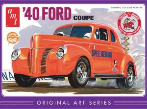AMT USA 1/25 Scale Orange '40 Ford Coupe Plastic Model Kit