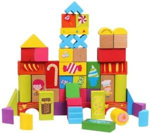 Montez 52 Pcs Bright Colourful Wooden Happy Farm Building Blocks Skillset Development for Kids