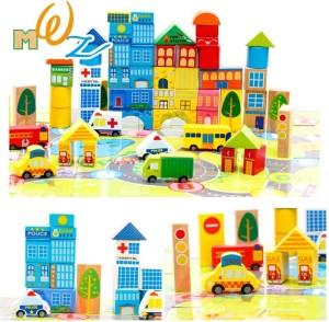 Montez 62 Pcs City Blocks educational wooden toys