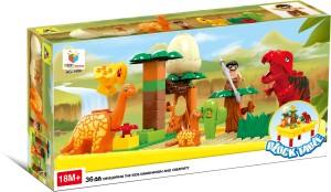 Toys Bhoomi Jurassic World Building Blocks Table - 36 Piece Dinosaur Set