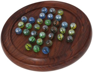 Craftsman Wooden Solitaire Puzzles With Marbles Diameter 11 Inches Board Game