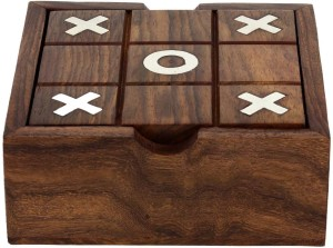 Royaltylane 2 In 1 Wooden Game Set Tic Tac Toe And Solitaire Board