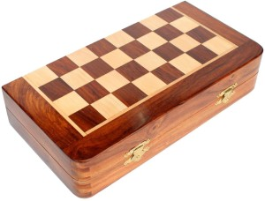 Craftgasmic Folding Magnetic Travel Chess Board Set Wooden Game Handmade,  Classic Game of Brilliance, Small Chess Pieces 10 inch) 10 inch Chess