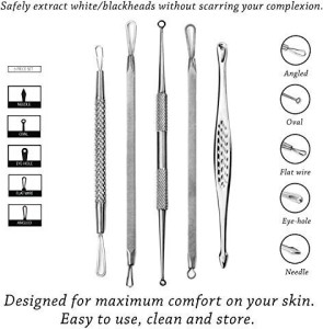 E-Z-GO Blackhead and Pimple Remover Kit - Instructions Included - 5  Surgical Extractor Tools - Excellent for Acne Treatment, Pimple Popping,  Blackhead