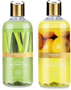 Vaadi Herbals Enticing Lemongrass & Refreshing Lemon & Basil Shower Gel300  ml, Pack of 2